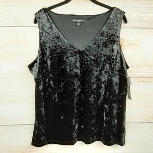 Sharagano Black Velvet Sleeveless top Size XL